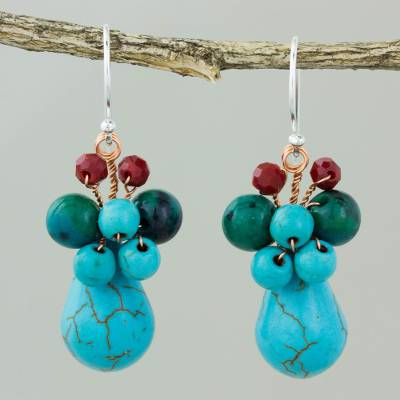 Serpentine dangle earrings, 'Natural Beauty in Blue' - Blue Serpentine and Glass Bead Dangle Earrings with Copper