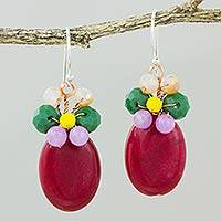 Quartz dangle earrings, 'Garden Bliss in Red' - Red Quartz and Glass Bead Dangle Earrings with Copper