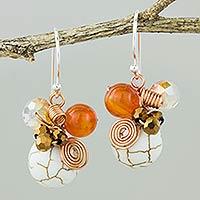 Carnelian dangle earrings, 'White Bubbles' - Calcite Carnelian and Glass Bead Dangle Earrings with Copper