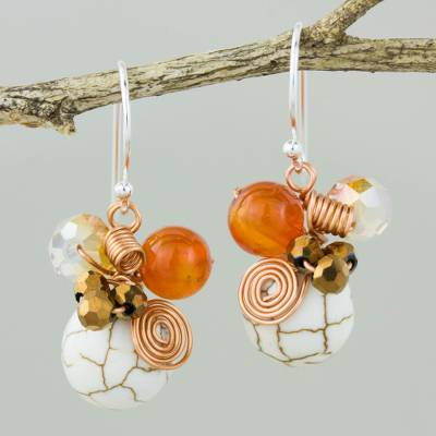 Carnelian dangle earrings, 'White Bubbles' - Calcite Carnelian and Glass Bead Dangle Earrings with Copper