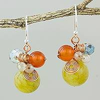 Quartz dangle earrings, 'Citron Bubbles' - Green Quartz and Carnelian Dangle Earrings with Copper