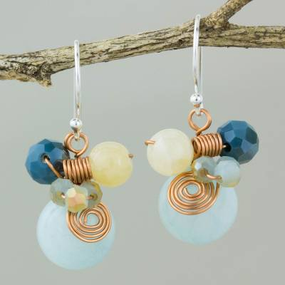 Quartz dangle earrings, 'Blue Bubbles' - Light Blue Quartz and Glass Bead Dangle Earrings with Copper