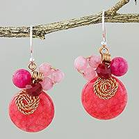 Quartz dangle earrings, 'Moonlight Garden in Cerise' - Cerise Quartz and Glass Bead Dangle Earrings with Copper