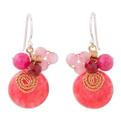 Cerise Quartz and Glass Bead Dangle Earrings with Copper