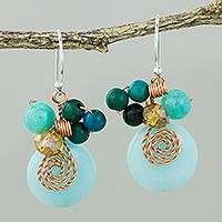 Quartz and serpentine dangle earrings, 'Moonlight Garden in Aqua'