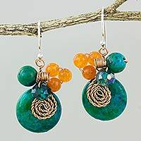 Serpentine and quartz dangle earrings, 'Moonlight Garden in Green' - Green Quartz and Serpentine Bead Dangle Earrings with Copper