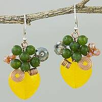 Quartz dangle earrings, 'Love Garden in Yellow'