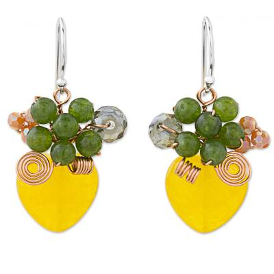Heart Shaped Yellow Quartz and Glass Bead Dangle Earrings