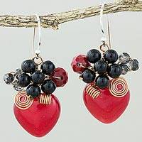 Quartz dangle earrings, 'Love Garden in Red' - Heart Shaped Red Quartz Onyx and Glass Bead Dangle Earrings