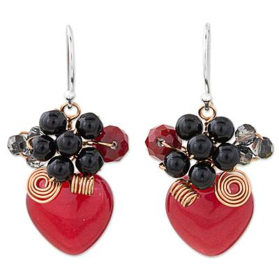 Heart Shaped Red Quartz Onyx and Glass Bead Dangle Earrings
