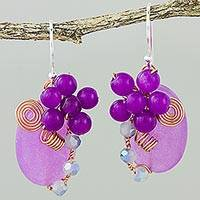 Quartz dangle earrings, 'Garden Bliss in Purple' - Purple Quartz and Glass Bead Dangle Earrings with Copper