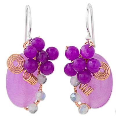 Purple Quartz and Glass Bead Dangle Earrings with Copper