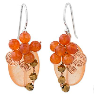 Orange Quartz and Glass Bead Dangle Earrings with Copper