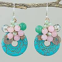 Beaded dangle earrings, 'Moonlight Garden' - Dyed Calcite Sterling Silver Dangle Earrings from Thailand