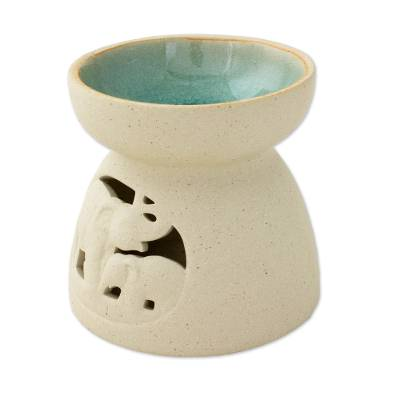 Ceramic Oil Warmer with Elephant Carving from Thailand