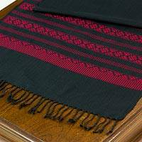 Cotton table runner, 'Red Lamphun Blossom' - Cotton Table Runner in Black and Red with Floral Pattern