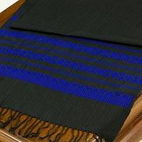 Cotton table runner, 'Royal Blue Lamphun Blossom' - Black and Royal Blue Floral Patterned Cotton Table Runner