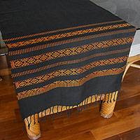 Cotton table runner, 'Saffron Lamphun Blossom' - Black and Orange Cotton Table Runner with Yok Dok Pattern