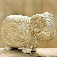 Wood sculpture, 'Woolly Sheep' - Hand Made Wood Sculpture of a Rustic Sheep from Thailand