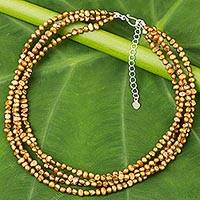 Cultured freshwater pearl strand necklace, 'Golden Brown Nuggets' - Thai Four-Strand Cultured Pearl Necklace in Golden Brown