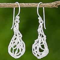 Sterling silver dangle earrings, 'Nature's Nest' - Sterling Silver Dangle Earrings Net Design from Thailand