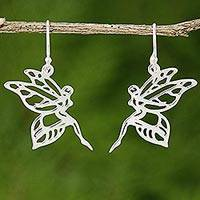 Sterling silver dangle earrings, 'Dancing Fairy' - Sterling Silver Dangle Earrings of Fairies from Thailand
