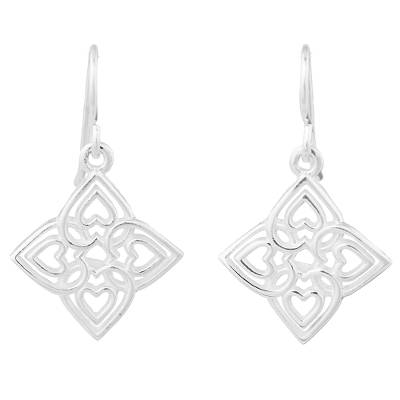 Sterling silver dangle earrings, 'Family Hearts' - Sterling Silver Heart Shaped Dangle Earrings from Thailand