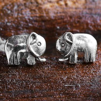 Sterling silver stud earrings, Little Elephants
