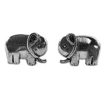 Sterling Silver Stud Earrings Elephant Shape from Thailand