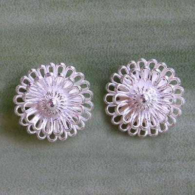 Novica Sterling silver button earrings, Chameleon