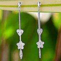 Sterling silver filigree dangle earrings, 'Starry Love' - Sterling Silver Star Heart Filigree Dangle Earrings Thailand