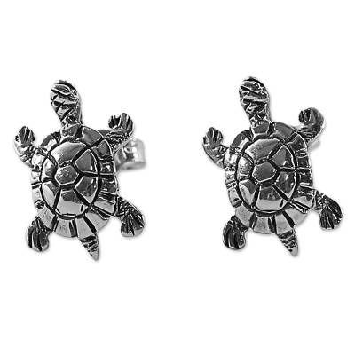 Sterling Silver Button Earrings Turtle Shape from Thailand