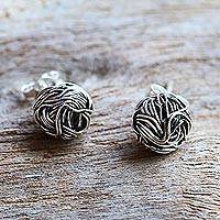 Sterling silver stud earrings, 'Bird Nests' - Sterling Silver Stud Earrings Round Shape from Thailand