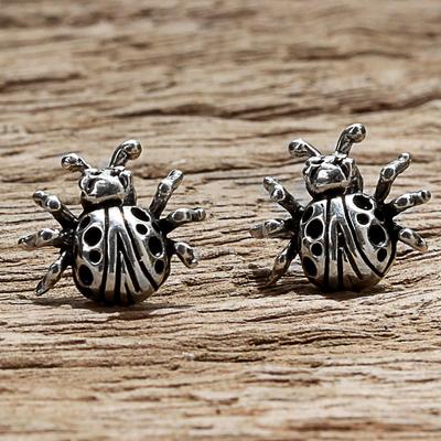 Novica Sterling silver stud earrings, Dainty Ladybugs