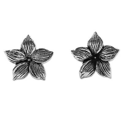 Sterling Silver Stud Earrings Floral Shape from Thailand