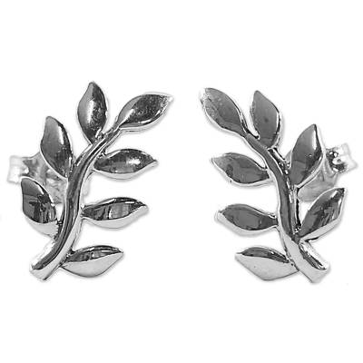 Sterling Silver Leaf Button Earrings from Thailand