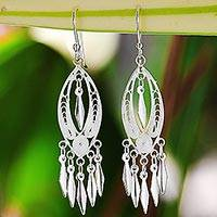 Sterling silver filigree chandelier earrings, 'Shining Spears' - Sterling Silver Filigree Chandelier Earrings from Thailand