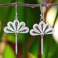 Sterling silver filigree dangle earrings, 'Peacock Fans' - Sterling Silver Filigree Dangle Earrings from Thailand