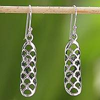 Sterling silver dangle earrings, 'Glistening Scales' - Sterling Silver Scale Motif Dangle Earrings from Thailand