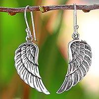 Sterling silver dangle earrings, 'Loving Wings' - Sterling Silver Wing Dangle Earrings from Thailand