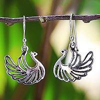 Sterling silver dangle earrings, 'Swan Couple' - Sterling Silver Dangle Earrings Swan Shape from Thailand