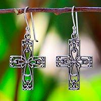 Sterling silver dangle earrings, 'Thai Crosses' - Sterling Silver Dangle Earrings Cross Shape from Thailand