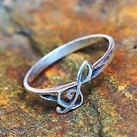 Sterling silver band ring, 'Timeless Melody' - Sterling Silver Band Ring Musical from Thailand
