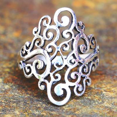 Sterling silver cocktail ring, Thai Spirals