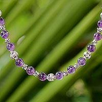 Amethyst beaded necklace, 'Simple Grace' - Amethyst and 950 Silver Beaded Necklace from Thailand