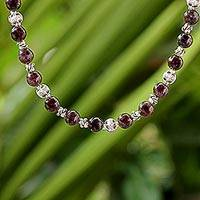 Garnet beaded necklace, 'Simple Grace' - Garnet and 950 Silver Beaded Necklace from Thailand