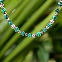 Malachite beaded necklace, 'Simple Grace' - Malachite and 950 Silver Beaded Necklace from Thailand