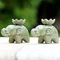 Celadon ceramic incense holders, 'Lotus Elephant' (pair) - Elephant and Lotus Ceramic Incense Holders from Thailand (2)