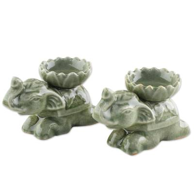 Ceramic incense holders, 'Polite Elephants' (pair) - Green Ceramic Elephant Incense Holders (Pair)