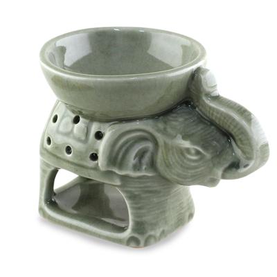 Green Ceramic Clay Elephant Oil Warmer from Thailand